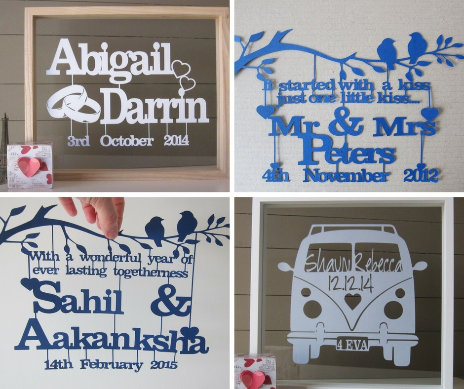A collection of papercut artworks made for past clients' spe-cial occasions. Wedding, engagement, and anniversary papercut art.