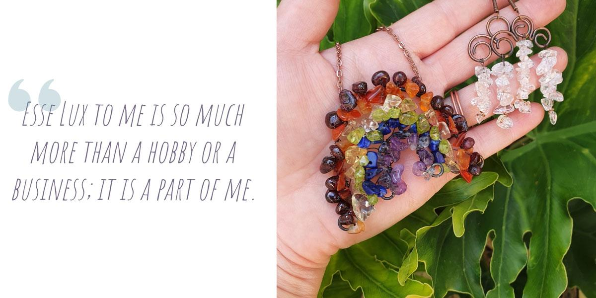 A crystal rainbow necklace with matching raincloud earrings; 'Esse Lux to me is so much more than a hobby or a business; it is a part of me.'