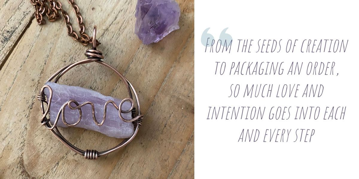 Handcrafted copper and amethyst 'love' pendant; 'From the seeds of creation to packaging an order, so much love and intention goes into each and every step'