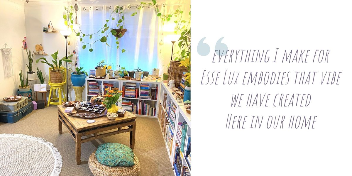 Kel's creative space in her family room, adorned in myriad of indoor plants, books, vintage furniture, collected crystals and boho creations; 'Everything I make for Esse Lux embodies that vibe we have created here in our home'
