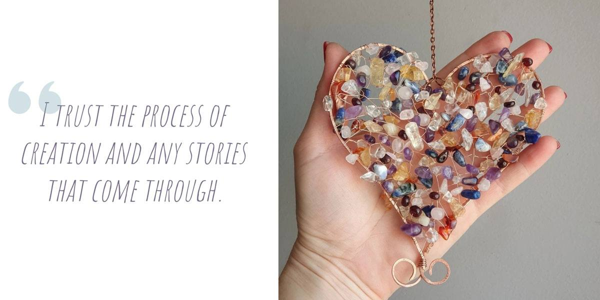 A heart-shaped copper and crystal sun catcher by Esse Lux; 'I trust the process of creation and any stories that come through'