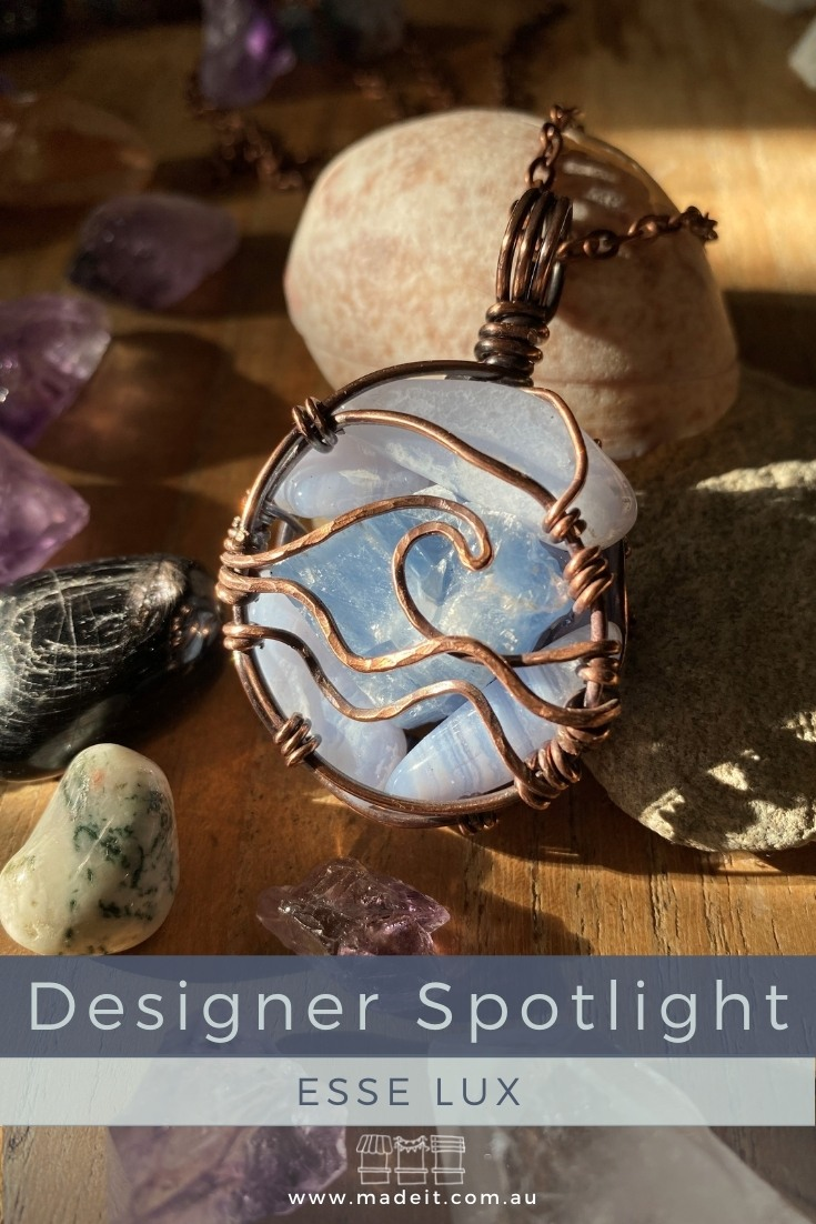 Esse Lux evolved from Perth hairdresser and mum of 4, Kel's, love of crystals, deepening spirituality and her jungle of indoor plants. She channels her creative energy, love and intention into creating one-of-a-kind jewellery and giftware from copper and crystals.