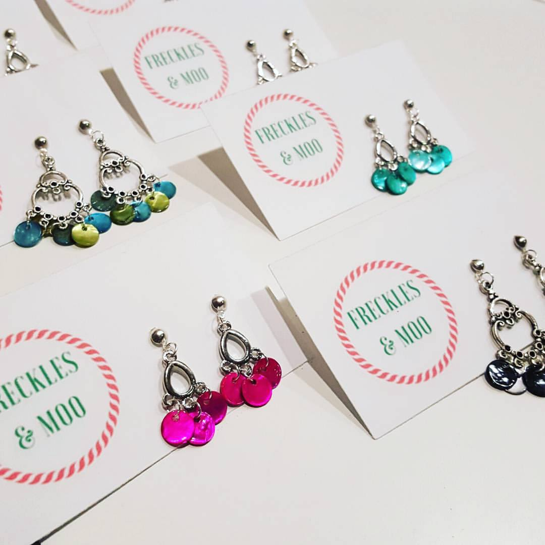 A range of handmade earrings by junior makers, Freckles & Moo