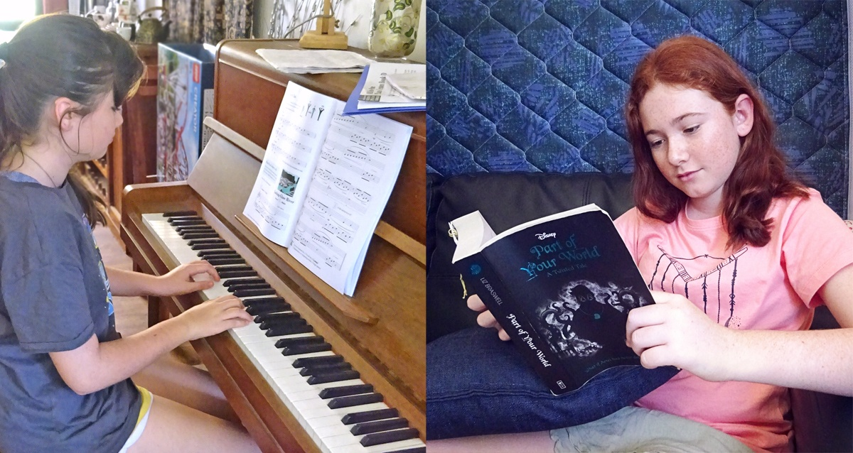 The Freckles & Moo duo enjoying some of their passtimes; 'Moo' playing the piano and 'Freckles' enjoying a good book