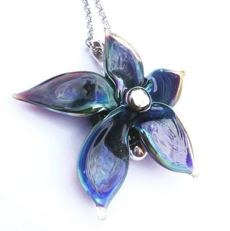 Purple and blue fused glass flower pendant by Hextasy Glass