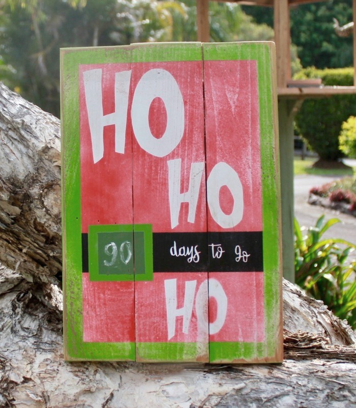 'Ho Ho Ho' Christmas countdown chalkboard on reclaimed timber sign