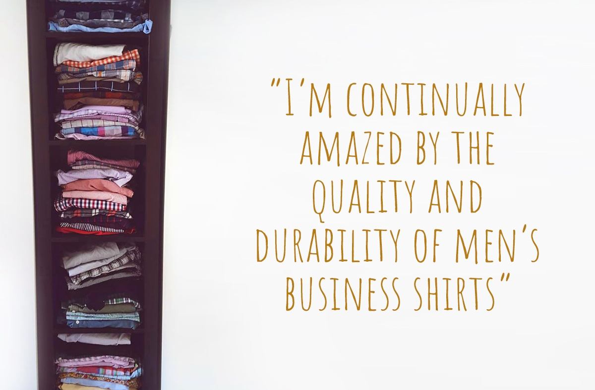 "Hywell's inspiration; a cabinet full of business shirts, ripe for repurposing: ""I'm continually amazed by the quality and durability of men's business shirts"""