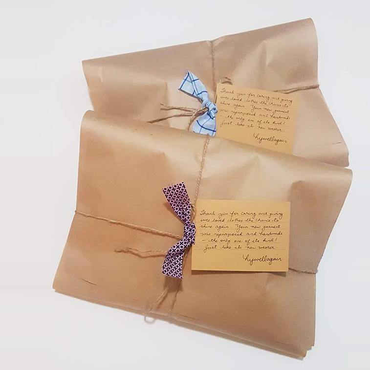 Two of Hywell's creations wrapped up in brown paper packages, tied with string and a tiny strip of shirt fabric, and finished with a hand-written thankyou note.""