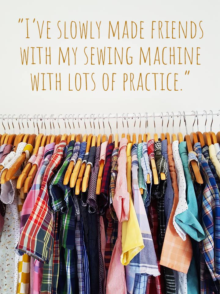 "A clothing rack of colourful Hywellagain garments: ""I've slowly made friends with my sewing machine with lots of practise"""