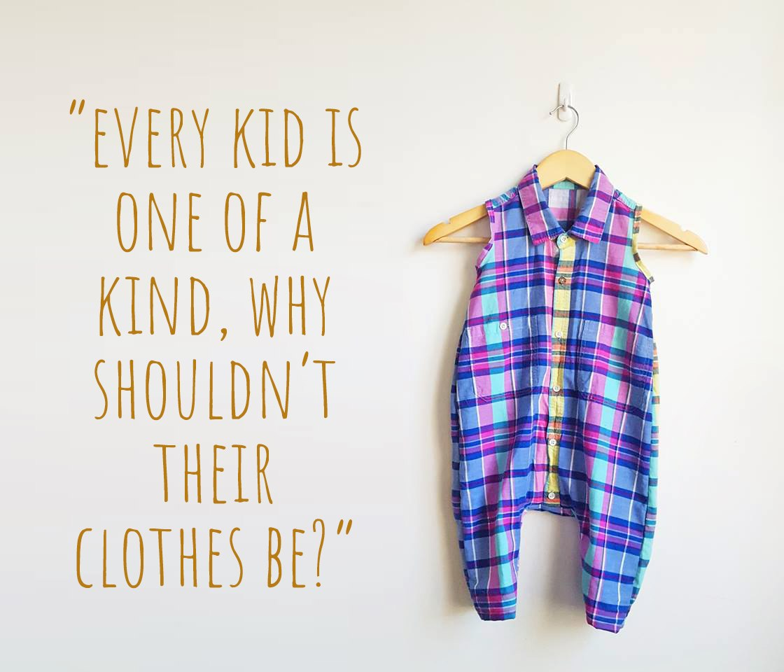"A sleeveless collared romper in a bold pink, blue and aqua checked print: ""Every kids is one of a kind, why shouldn't their clothes be?"""
