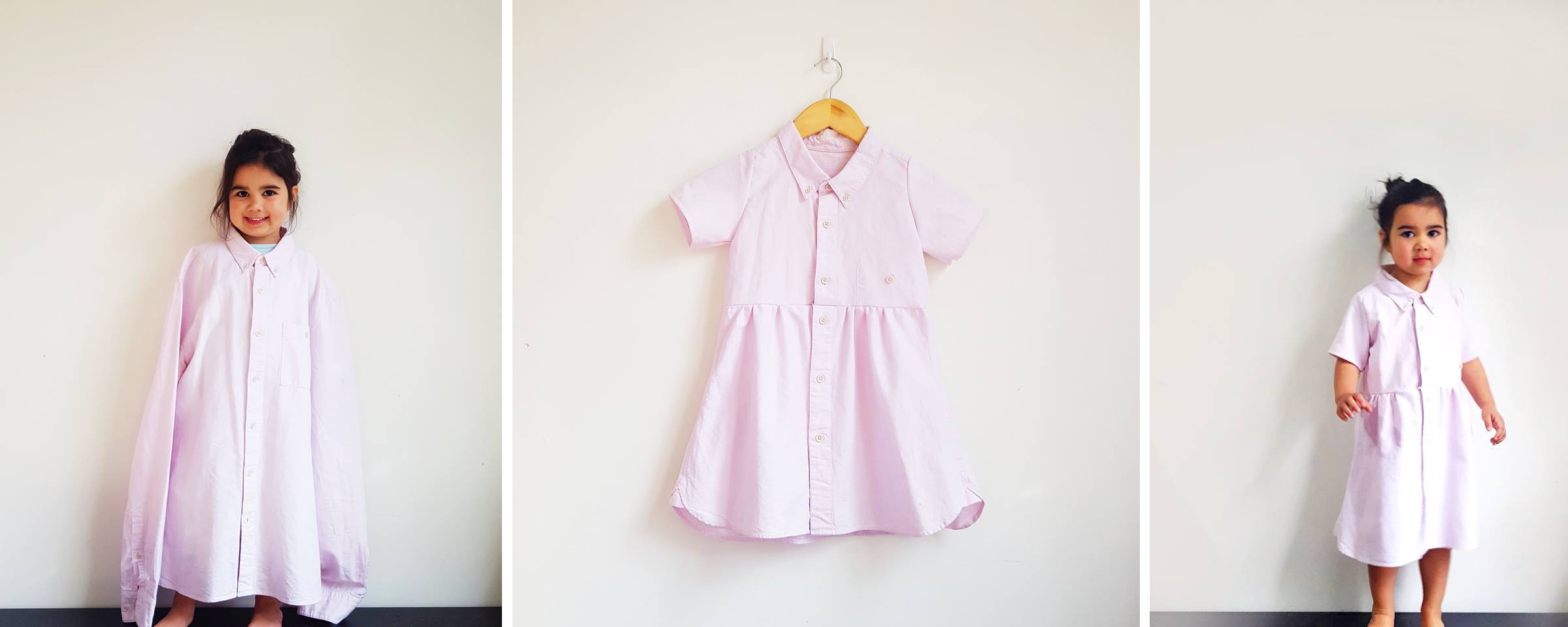 The transition of a pink men's business shirt into a fun and functional dress. Left: A little girl wearing the oversized original shirt. Middle: The shirt repurposed as a feminine pink collared dress. Right: The same little girl wearing the better-fitting new garment.