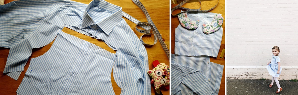 Another transformation process. Left: A blue and white collared men's business shirt cut up on the workbench. Middle: Cut pieces of the original shirt with new collar pieces in a floral fabric. Right: A young girl modelling the finishes dress with floral peter pan collar, against a white brick wall.