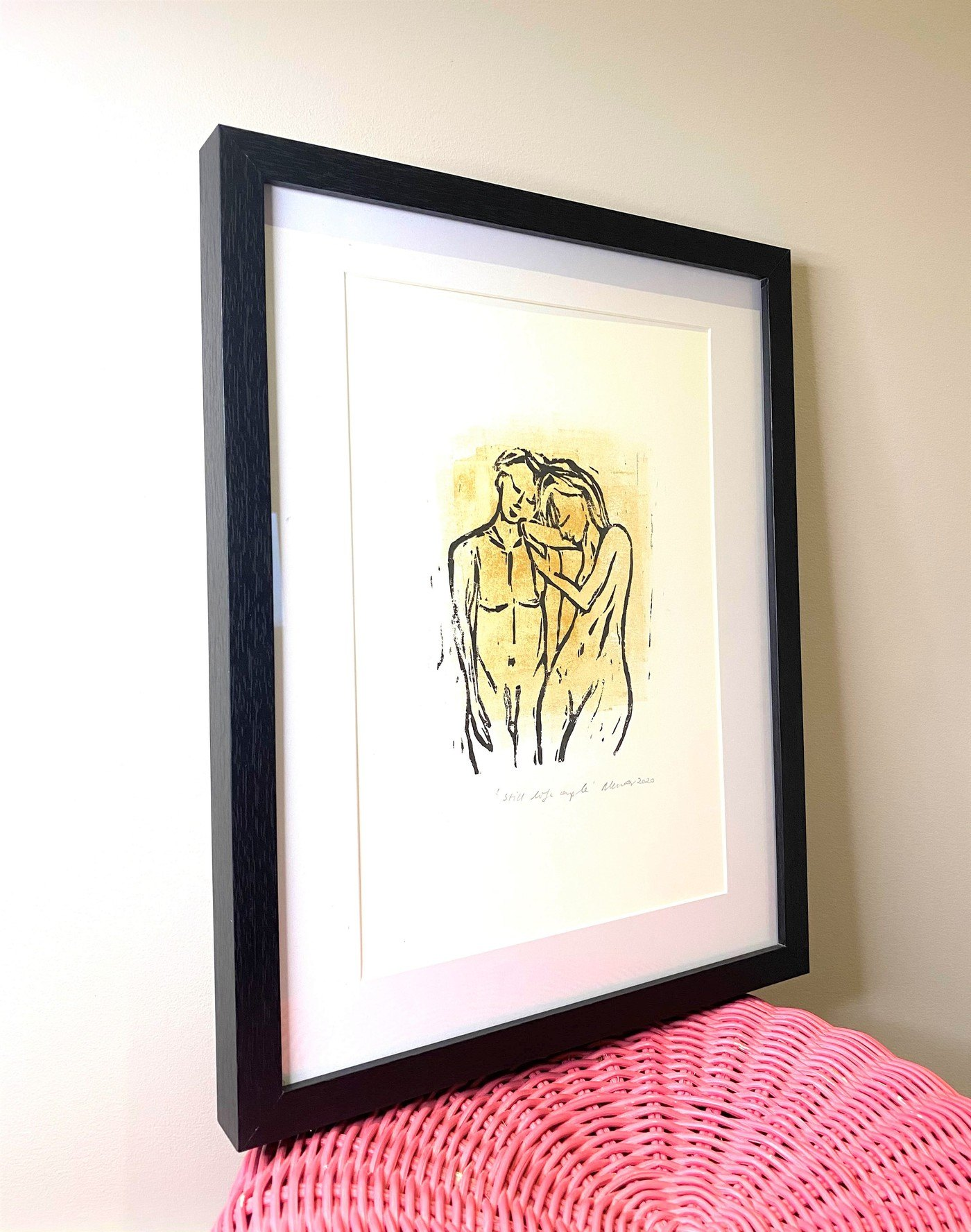 'Still Life Couple' art print in gold