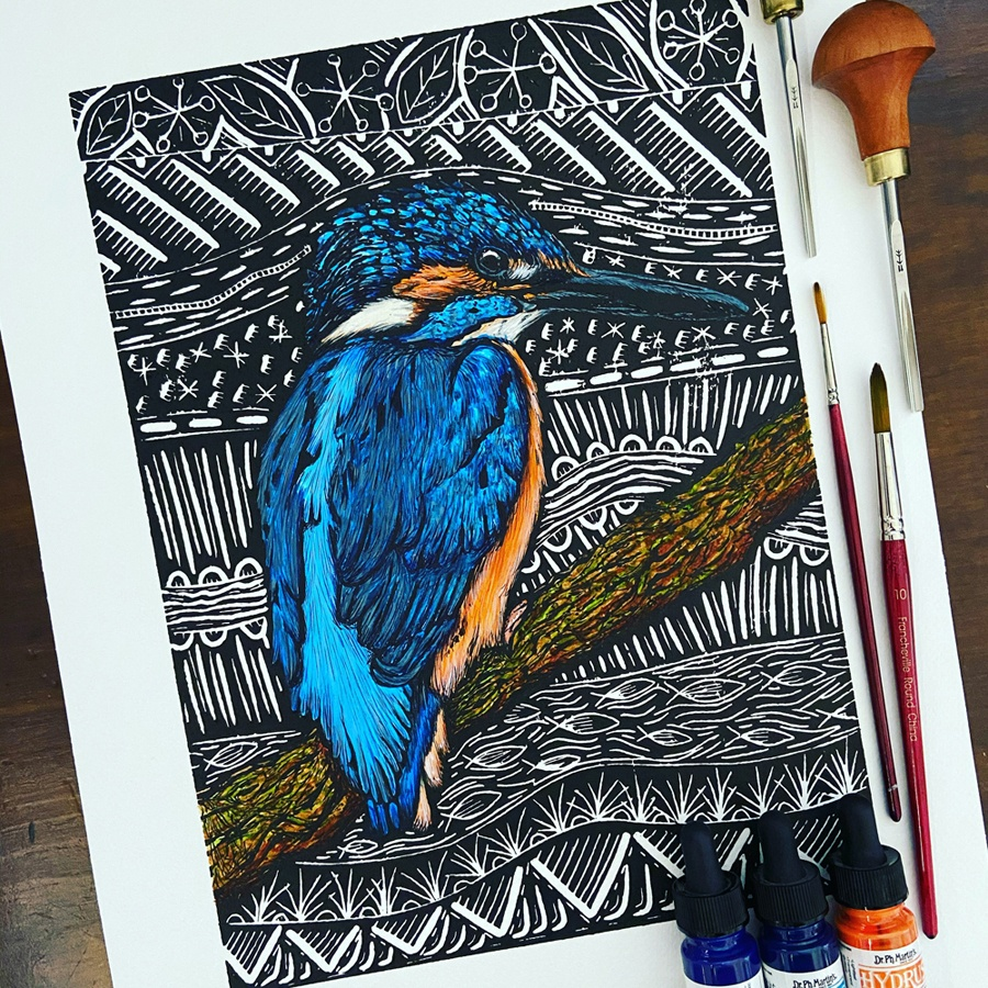Kingfisher lino print handcoloured with watercolours by Handmade by Hemmings