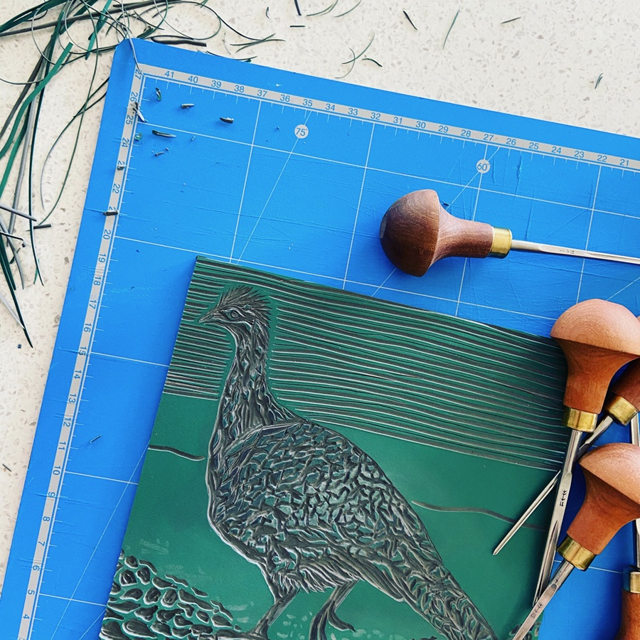 A native bird linocut in progress
