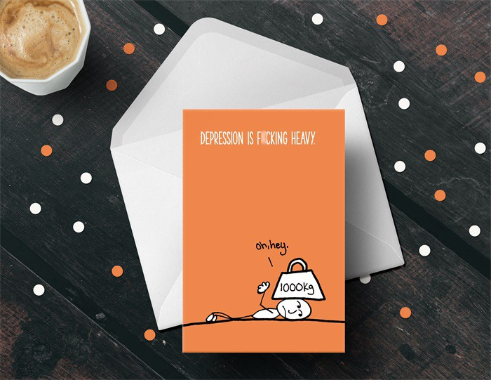 Depression is F*cking Heavy greeting card by Hardcopy Cartel