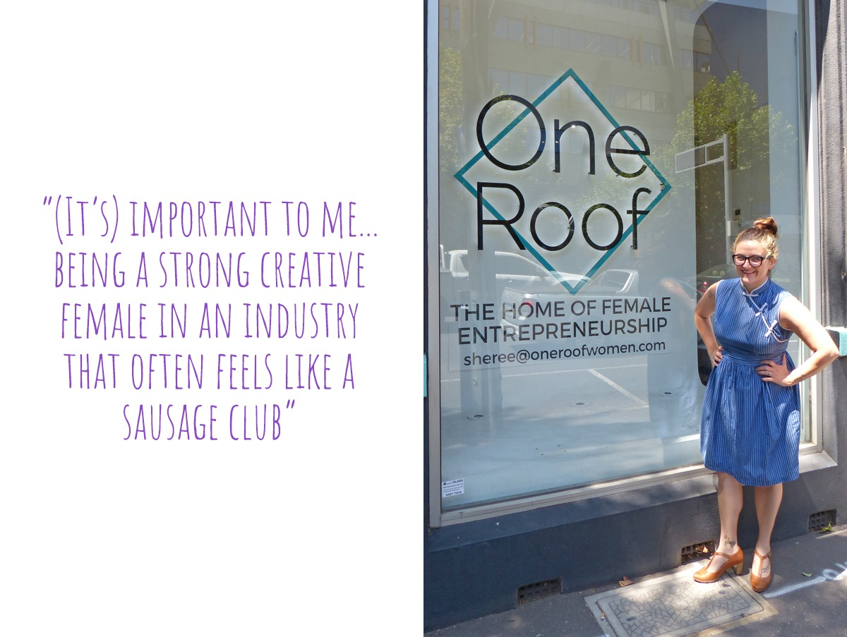 Lindsey outside the all-female co-working space, One-Roof, where she bases her design business