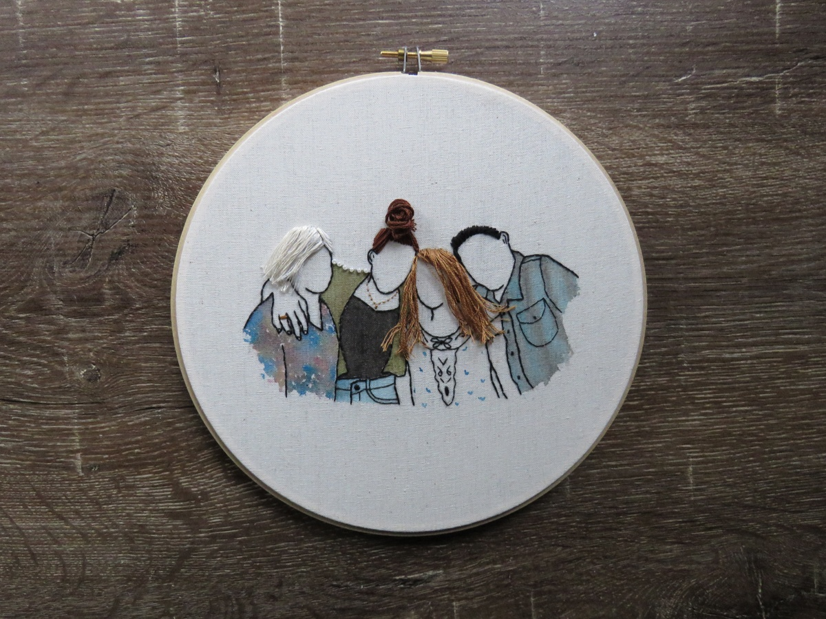 A commissioned embroidery portrait of four friends by Hooray Hoop