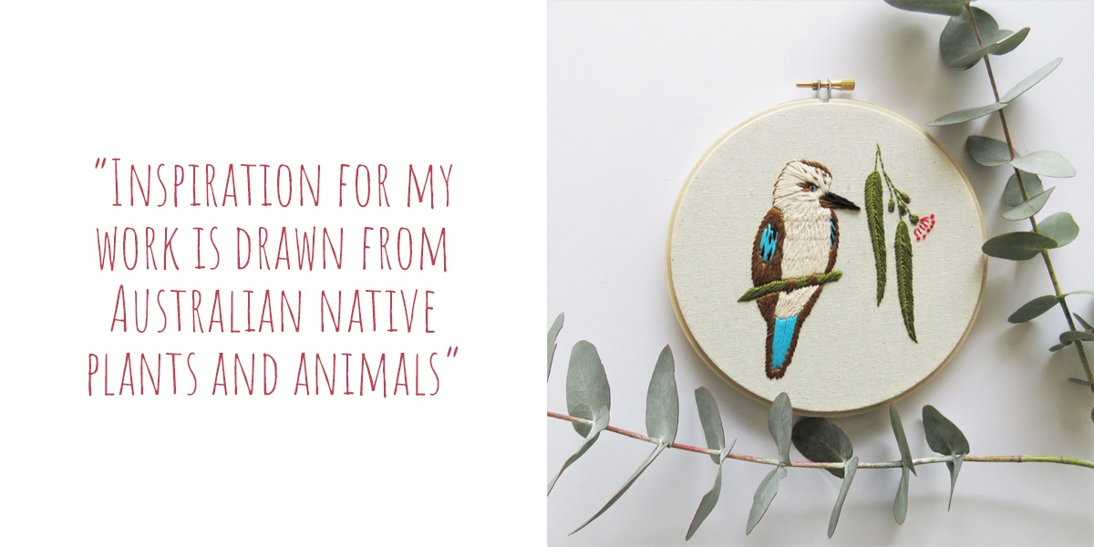'Cookie the Kookaburra' original modern embroidery design by Hooray Hoop, available as a DIY embroidery kit: 'Inspiration for my work is drawn from Australian native plants and animals'
