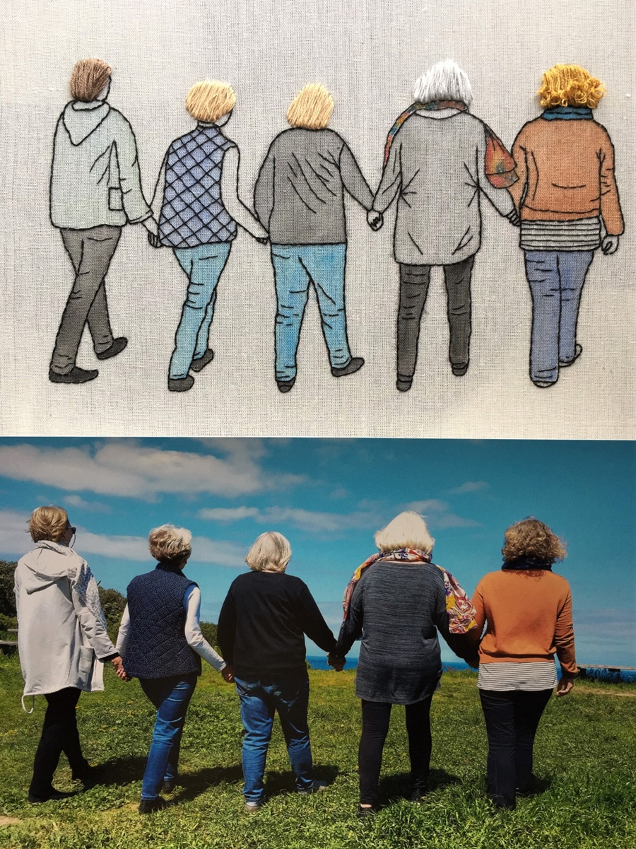 A photo of 5 women holding hands, walking away from the camera, and Jo's embroidered interpretation of the same scene made as very personal commission piece for a client.'