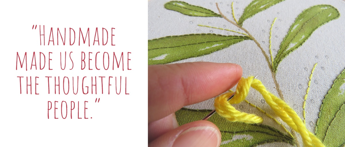 Detailed view of a Wattle embroidery in progress as Jo shows how to wrap thread around the needle to achieve a 3D textured stitch: 'Handmade made us become the thoughtful people'