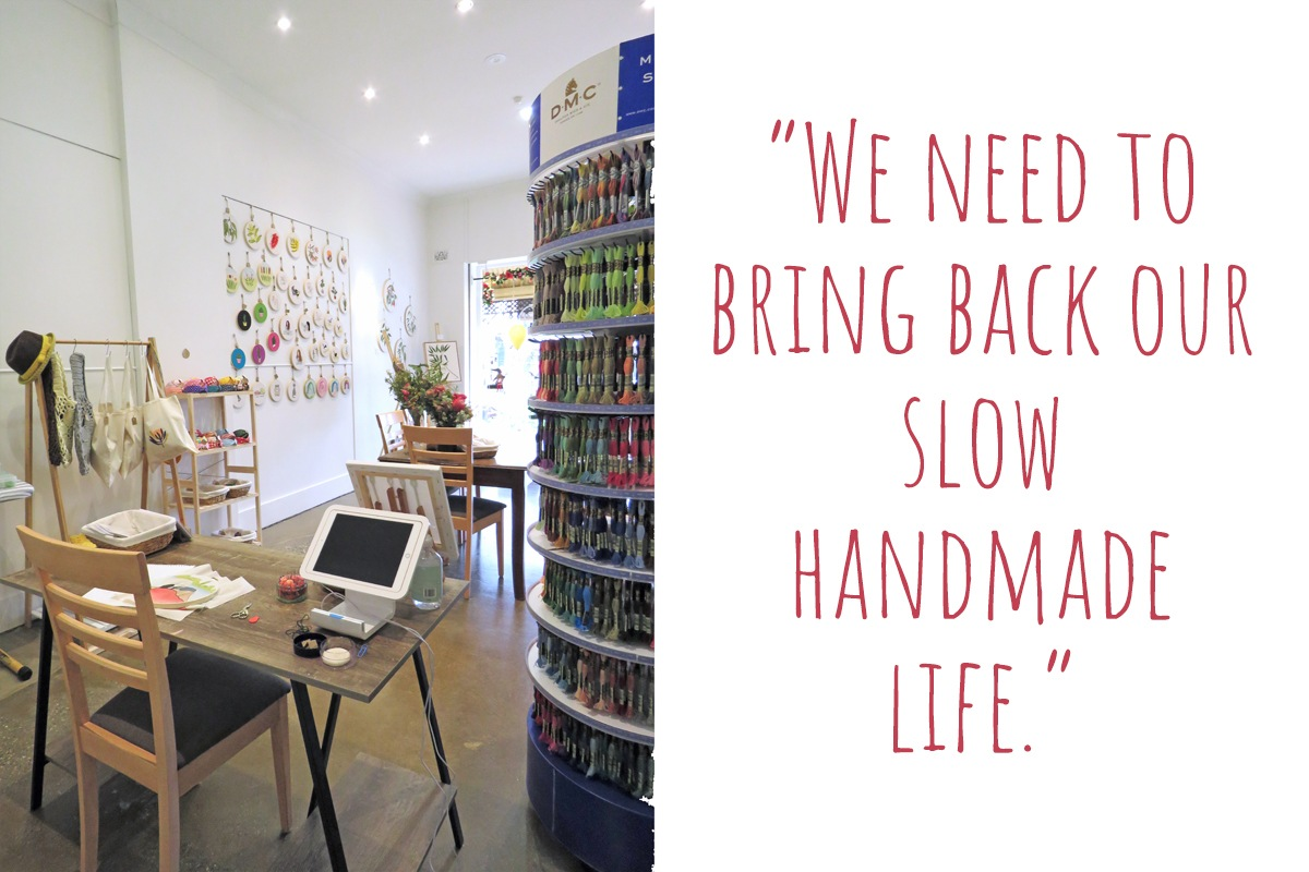 Jo's studio in her newly opened Geelong embroidery store: 'We need to bring back our slow handmade life'