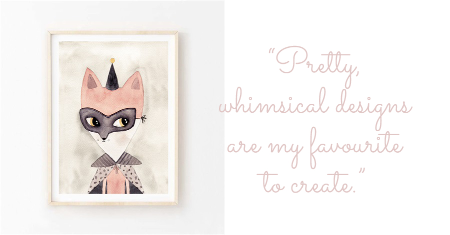 "Hip Ink Hooray whimsical masked fox watercolour art print: ""pretty, whimsical designs are my favourite to create."""