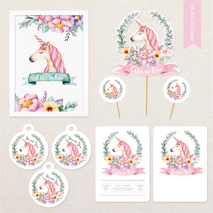 Personalised Unicorn Party Pack including invitations, cake topper, poster