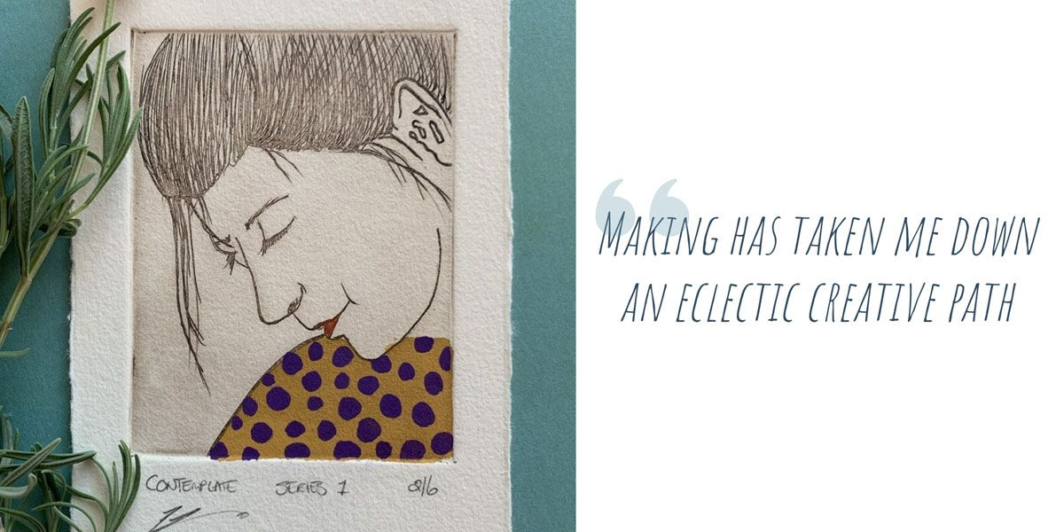 One of 6 limited edition hand-painted etchings of a woman's face; 'Making has taken me down an eclectic creative path'