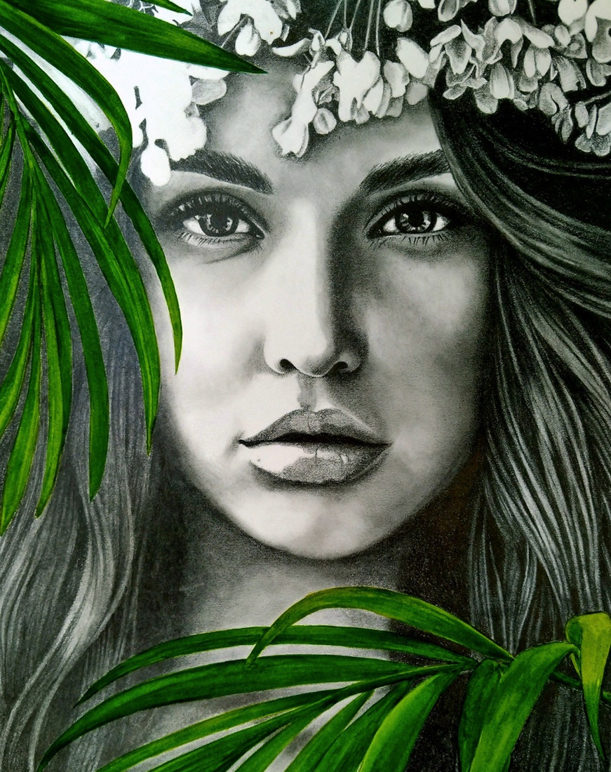 Privately commissioned portrait of a young woman by Kati Designs