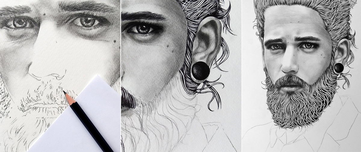 Work in progress: Progression of a drawing of a young bearded man