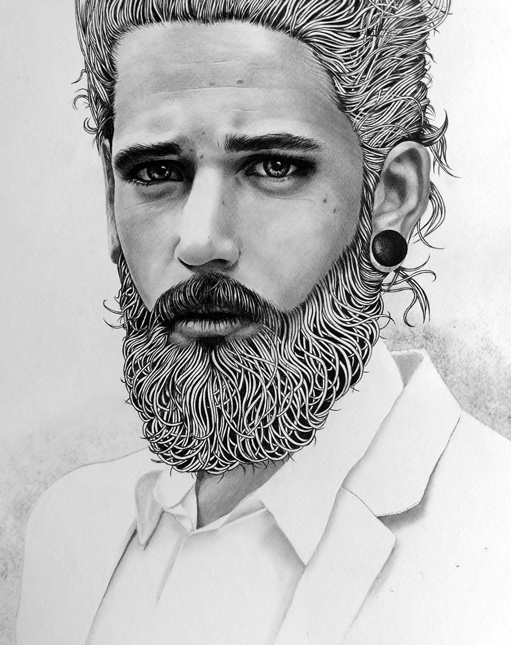 Finished artwork: The finished piece of a young bearded man by Kati Designs