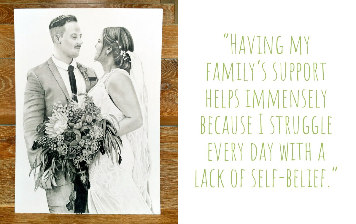 A commissioned portrait of a couple on their wedding day by Kati Designs: 'Having my family's support helps me immensely because I struggle every day with a lack of self-belief.'