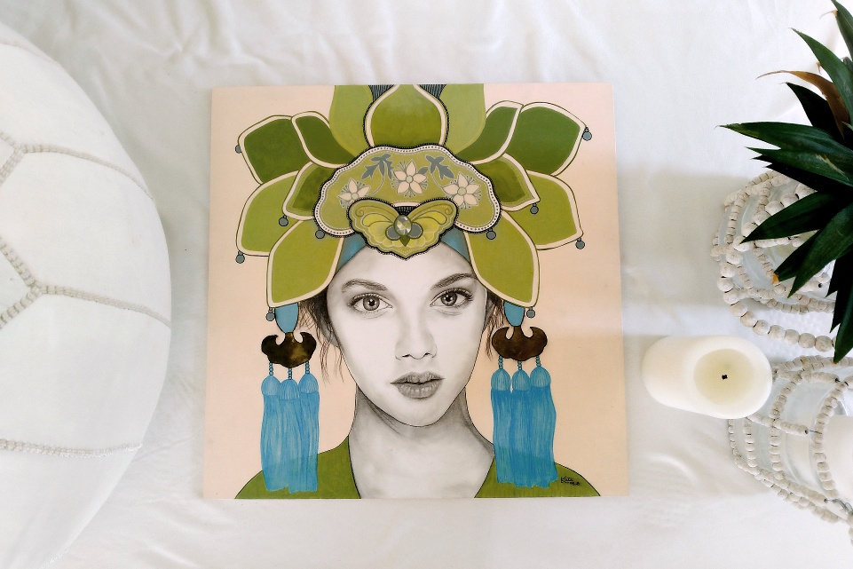 Original artwork on plywood by Kati Designs, entitled 'Private Eyes'