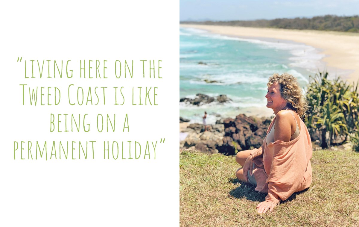 Artist, Kati, enjoying the view from her local lookout at Hastings Point: 'Living here on the Tweed Coast is like being on a permanent holiday'
