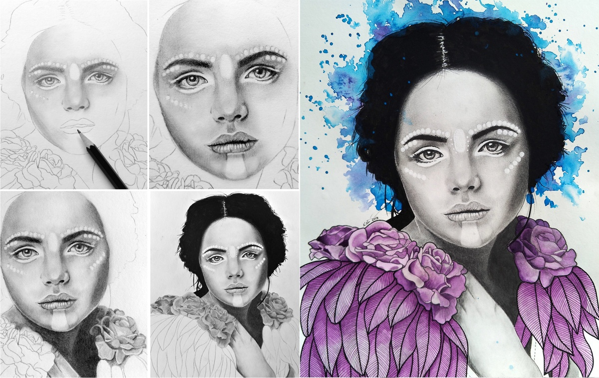 Work in Progress: Progression of a monochromatic portrait drawing into a finished piece with watercolour accents, entitled 'And She Was'