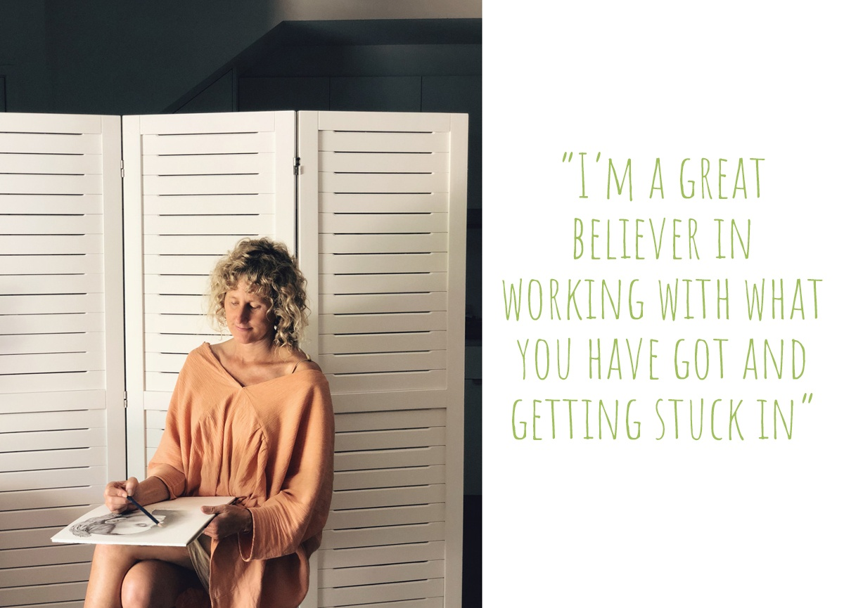 """Kati at work in her Pottsville studio apartment: """"I'm a great believer in working with what you have got and getting stuck in"""