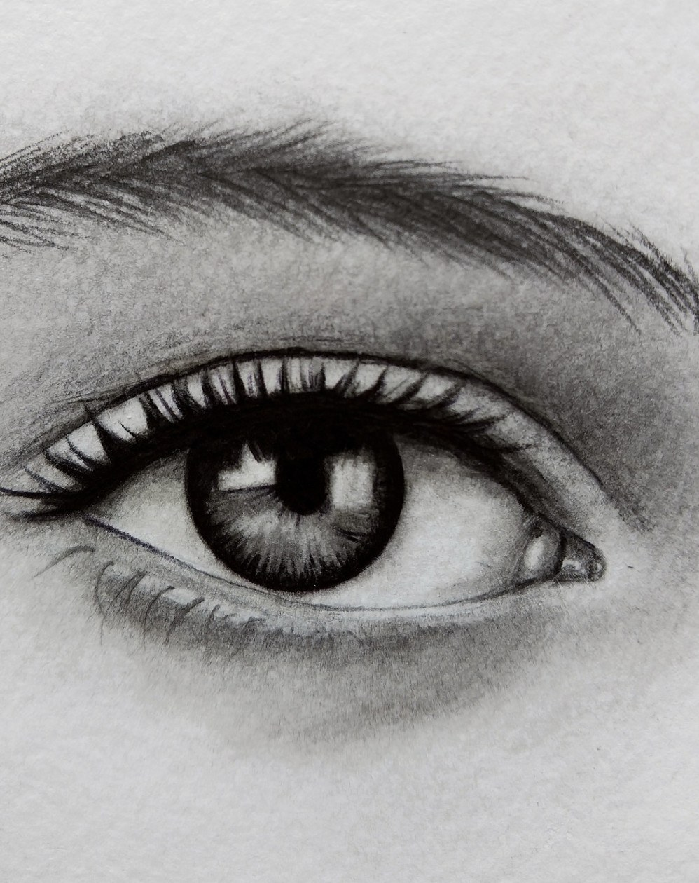Drawing detail: close-up of an eye from one of Kati's portraits