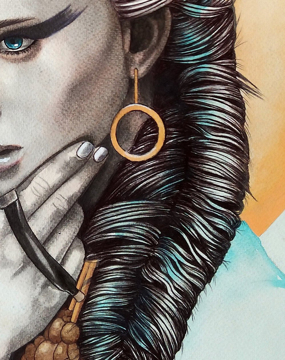 Kati Designs detail of 'Chemalis' original artwork: 'the human form, the face, eyes, hair, it just holds my attention'