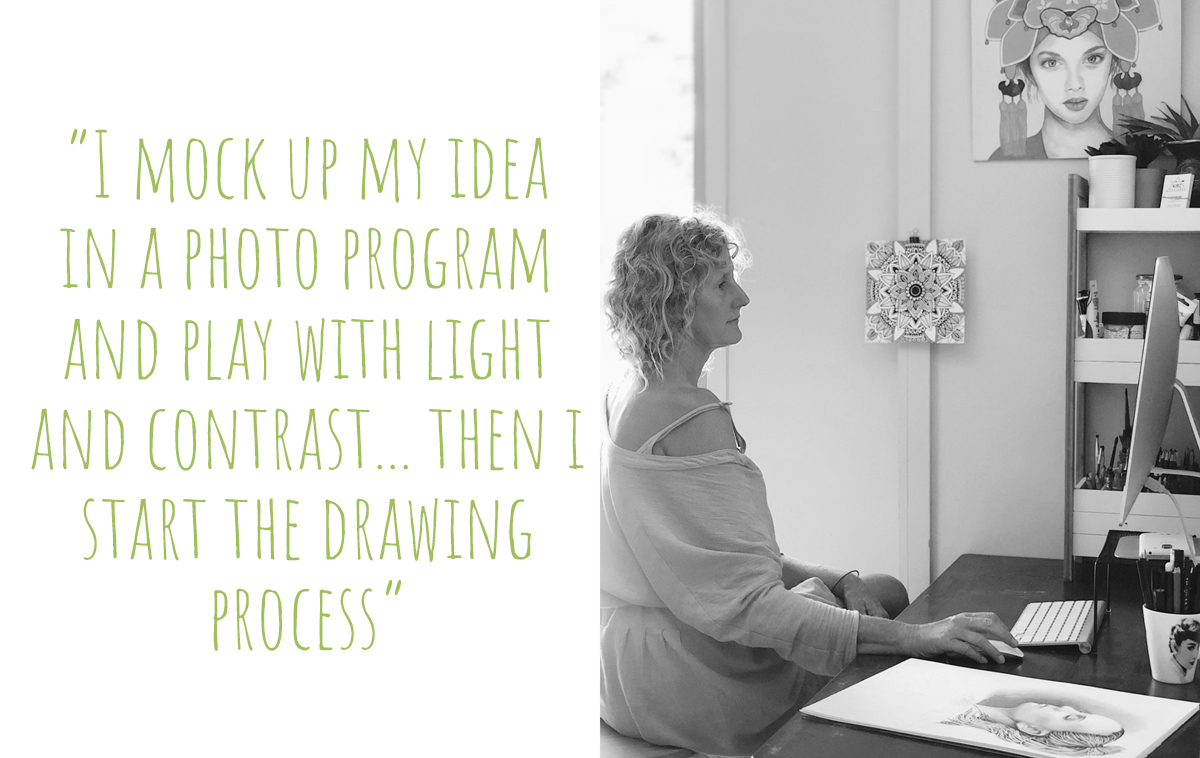 Kati at work on her computer, mocking up ideas for her next drawing: 'I mock up my idea in a photo program and play with light and contrast… then I start the drawing process'