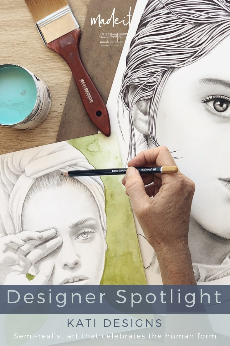 Surfer, grandmother, and self-taught artist, Kati creates semi-realist portraits in pencil, graphite, charcoal, ink and paint from her home on the Tweed Coast.