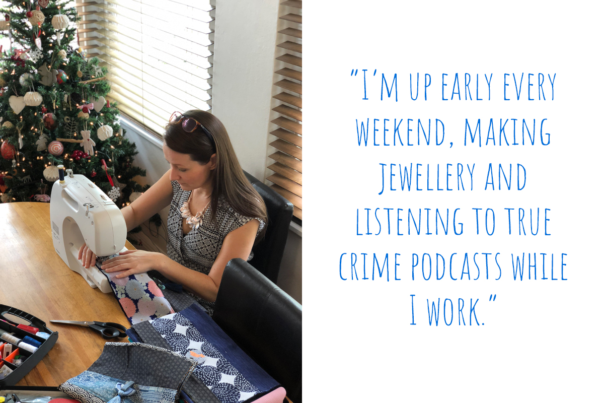 "Robyn at work: ""I'm up early every weekend, making jewellery and listening to true crime podcasts while I work."""