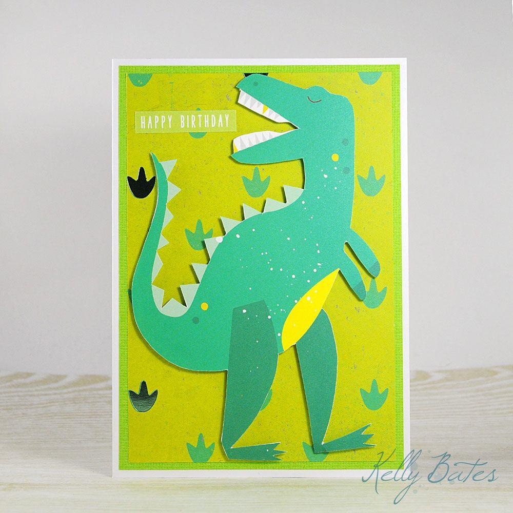 A bright green dinosaur handmade birthday card by Kelly Bates'