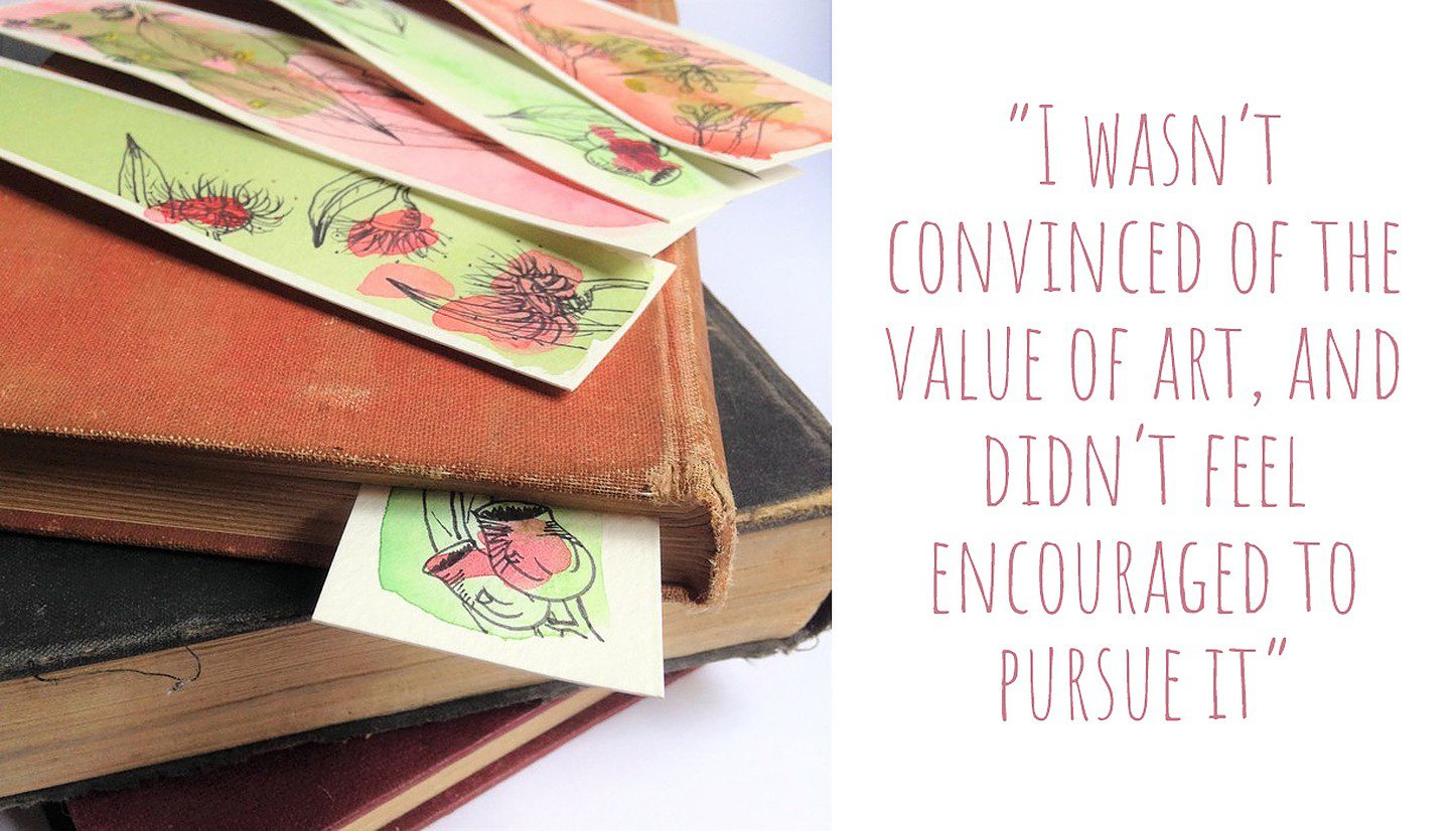 A pile of vintage books scattered with Kirby's nature-inspired art bookmarks; 'I wasn't convinced of the value of art, and didn't feel encouraged to pursue it'