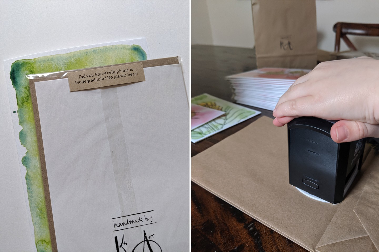 Sustainable packaging used by Kb Handmade Art; biodegradable cellophane sleeves and hand-stamped brown paper bags