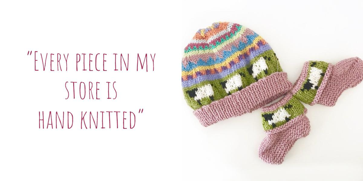"Whimsical knitted beanie and sock set in pastels, with sheep detail: ""Every piece in my store is hand knitted"""