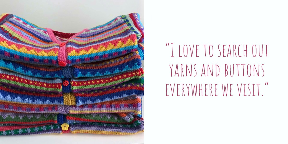 "A stack of Karen's colourful knitted creations with quirky buttons: ""I love to search out yarns and buttons everywhere we visit"""