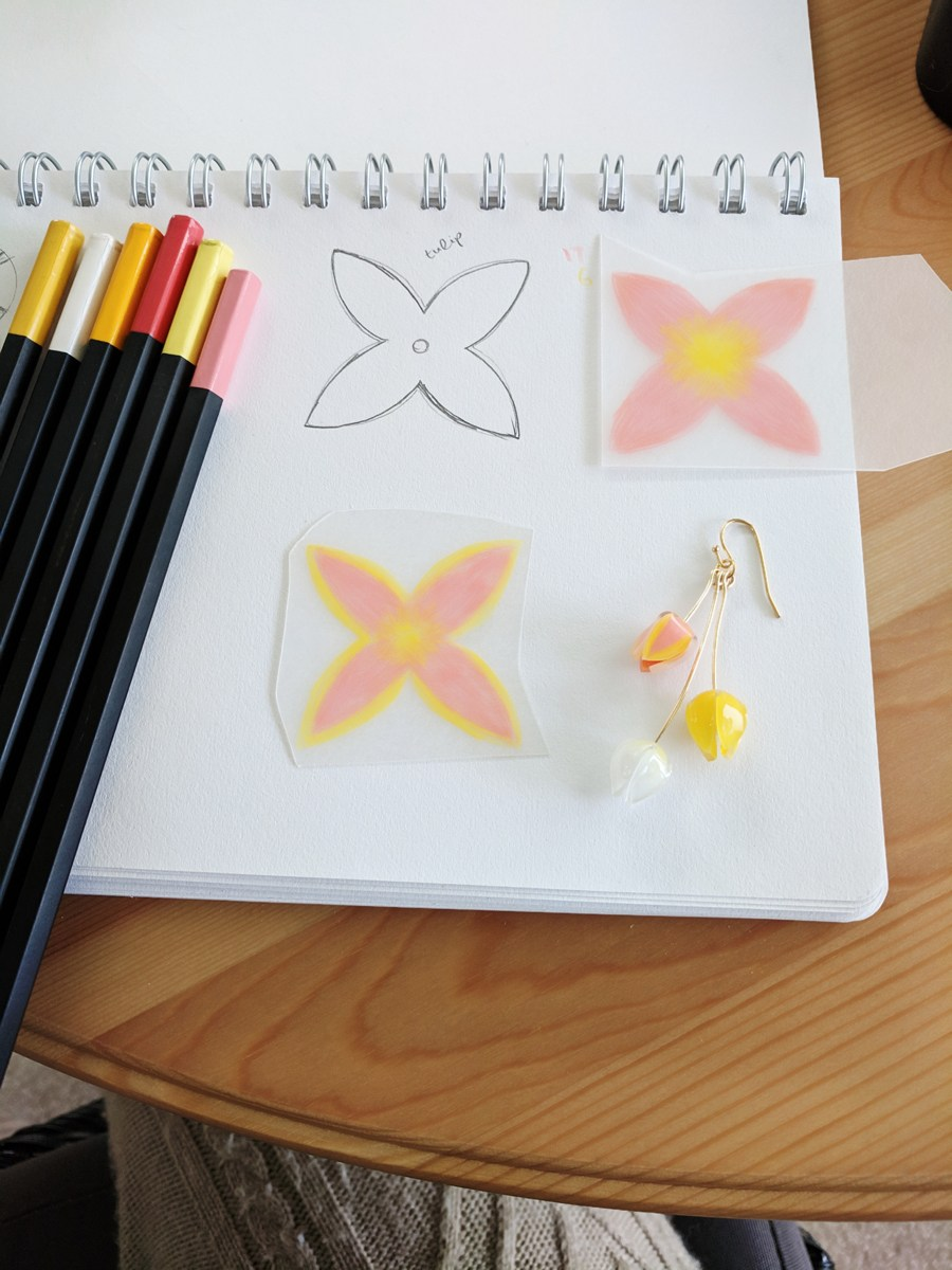 Work in progress: Kawai tulip earring with original 2D sketch and coloured shrink plastic pieces ready for cutting