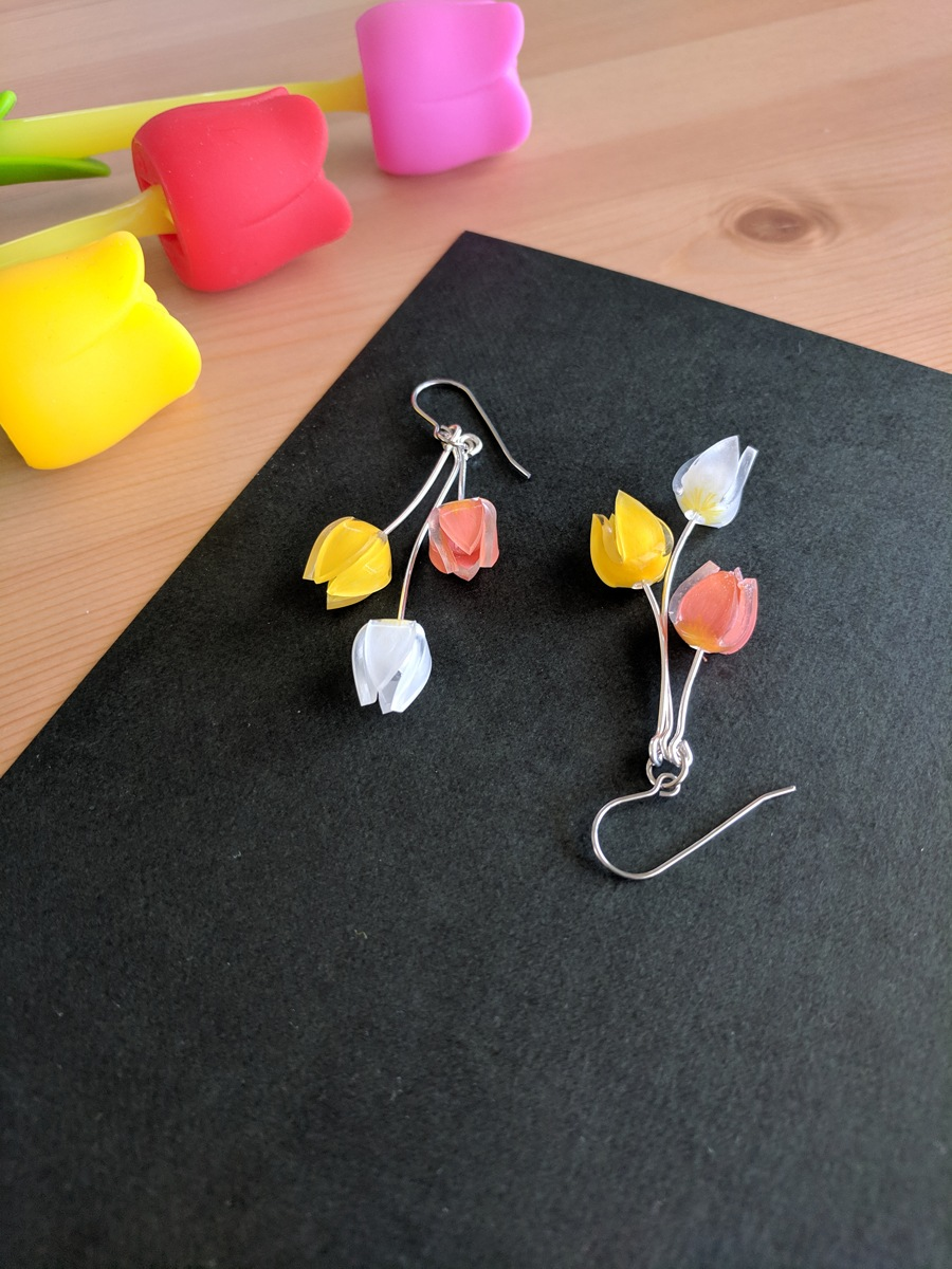 Completed kawai tulip dangle earrings inspired by a tulip festival