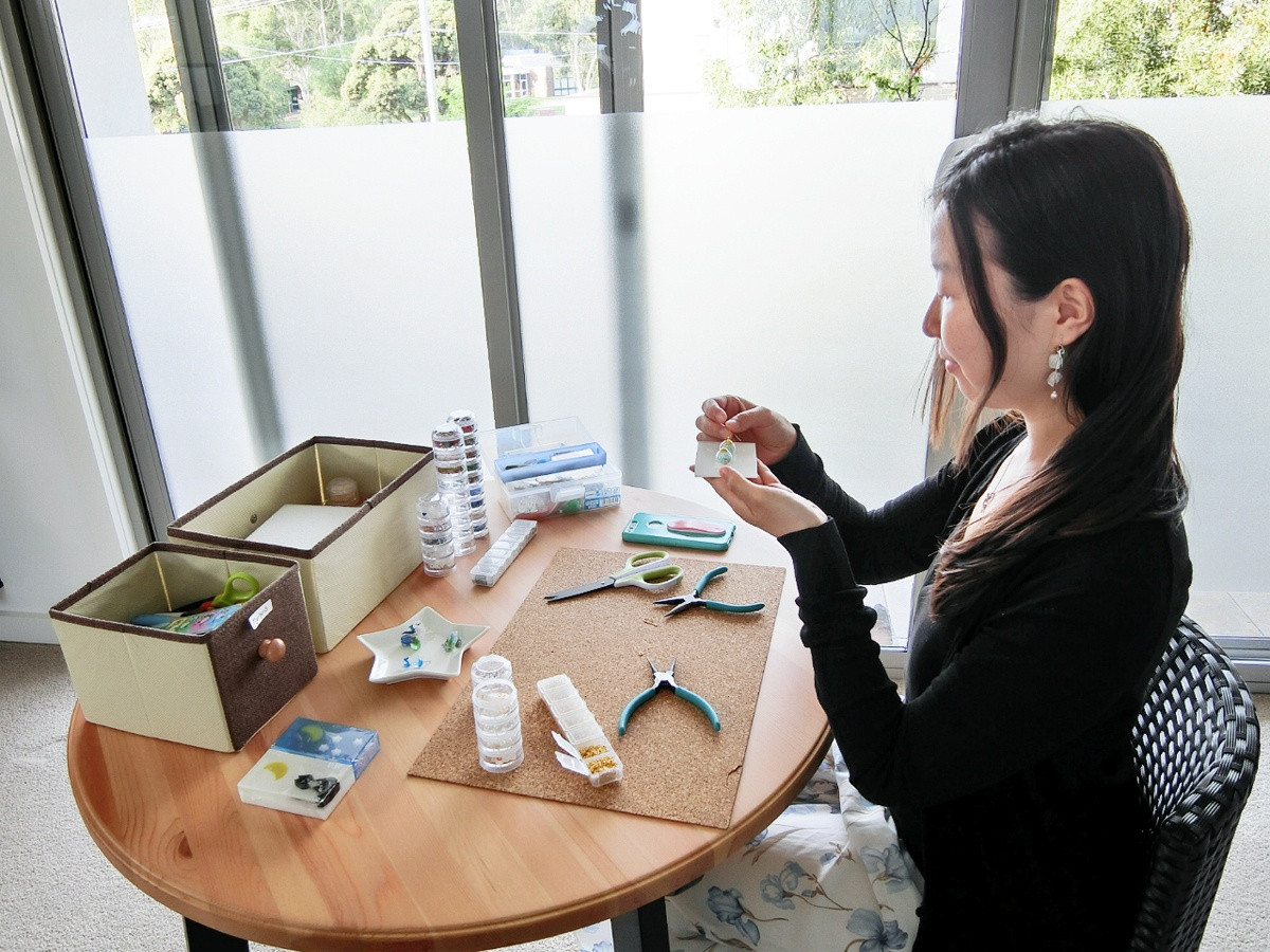 Kei at work on some jewellery pieces in her home workshop